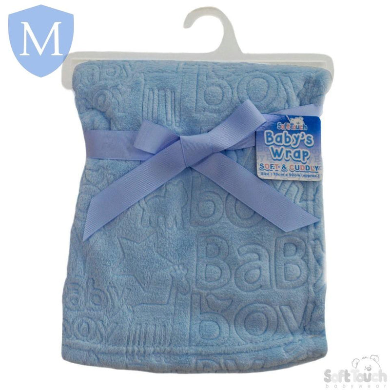 "Baby ""Baby Boy"" Soft Blanket Wrap - Blue (FBP178) - Baby Styles"
