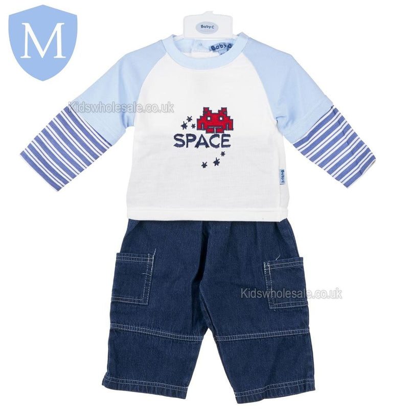 "Baby Boys ""Space"" Style Denim 2 Piece Outfit Set (Top & Denim Trousers) (7424) - Baby Styles"