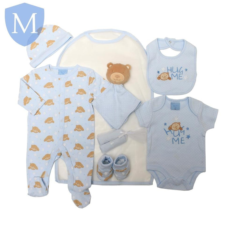 Baby Boys Super Blue Teddy 8 Piece Gift Set (Sleepsuit, Bodyvest, Bib, Hat, Bootees, Comforter & 2 Face Cloths) (65JTC8719-Sky) - Baby Styles