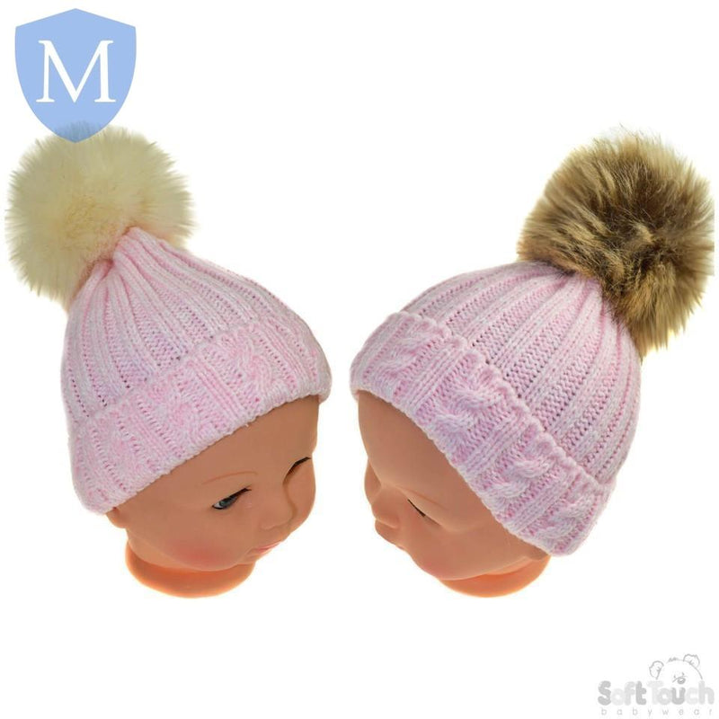 Baby Cable Knitted Fluffy Pom Pom Hat (Newborn-12 Months) (H486) - Baby Styles