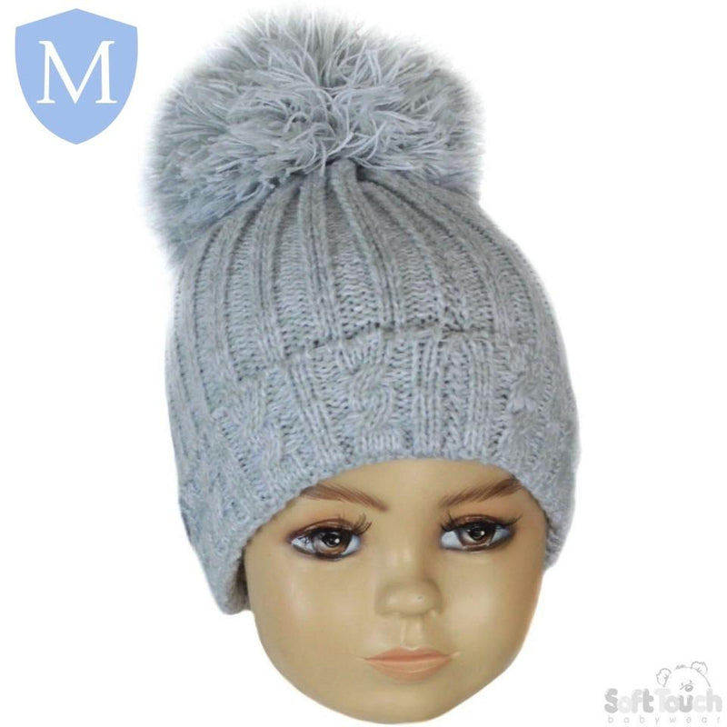 Baby Cable Knitted Pom Pom Winter Hat (Newborn - 12 Months) (H480) - Baby Styles
