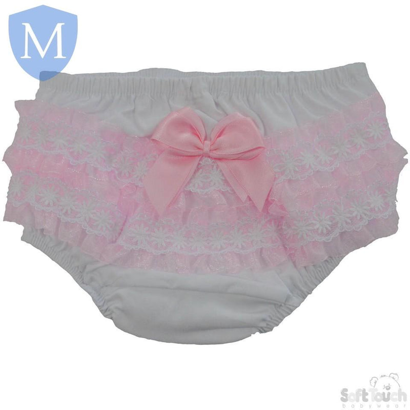 Baby Grls Cotton Frilly Pants With Flower Trim - Pink & White (FP10-P) - Baby Styles