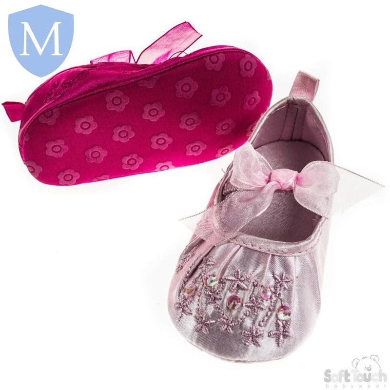 "Baby ""Pretty Bow"" Style Elastic Straped Satin Shoes (B2076) - Baby Styles"