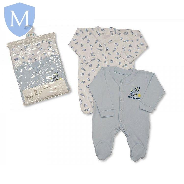 "Baby ""Rocket Ship"" Style 2-Pack Sleepsuit - Blue (Bw-1109-0803b) - Baby Styles"