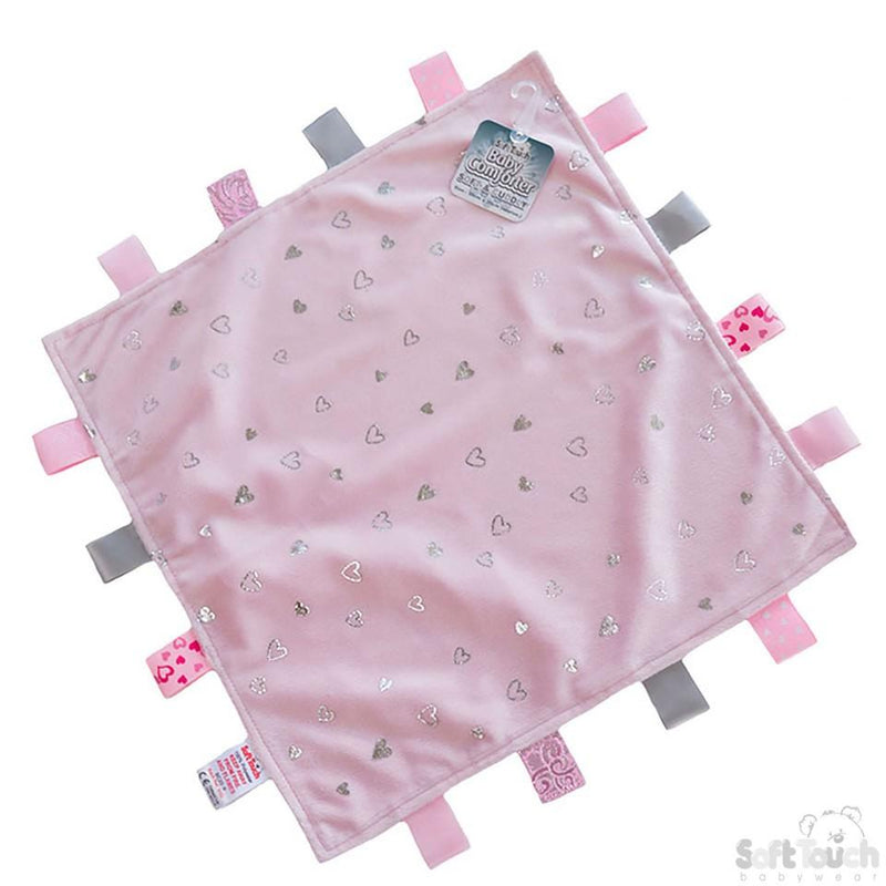 Pink Mink Flannel Comforter With Silver Hearts & Sherpa Soft Back - Baby Styles