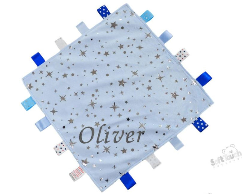 Personalised Blue Mink Flannel Comforter With Silver Stars & Sherpa Soft Back - Baby Styles