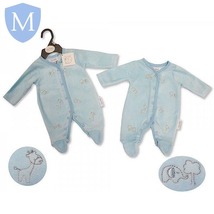 "Premature Baby Boys ""Animals"" Blue Velour All In One Set (Pb-20-0073) - Baby Styles"