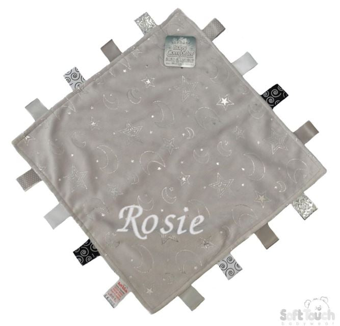 Personalised Grey Mink Flannel Comforter With Silver Star/Moons & Sherpa Soft Back - Baby Styles