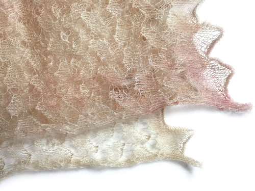 Heirloom Cobweb Lace Scarf in unique softly blended hand dye shades