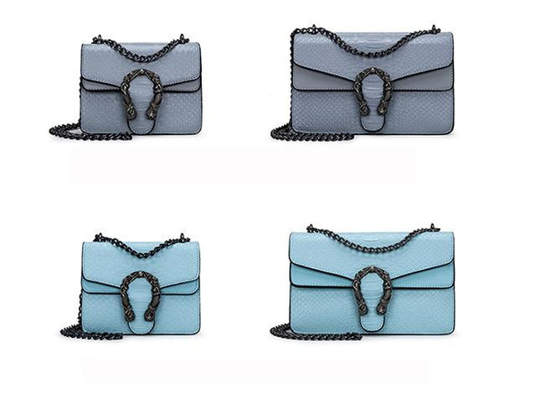 Mini Blue Blush Serpertine Leather Crossbody
