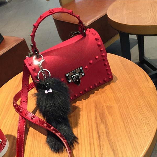 PVC Leather Handbag red