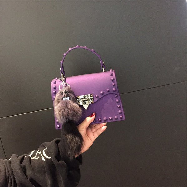Purple PVC Leather Handbag