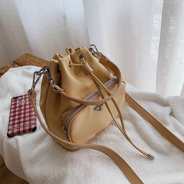 Nude Beige Brown Ellie Drawstring Crossbody Bag Vegan Nichesix