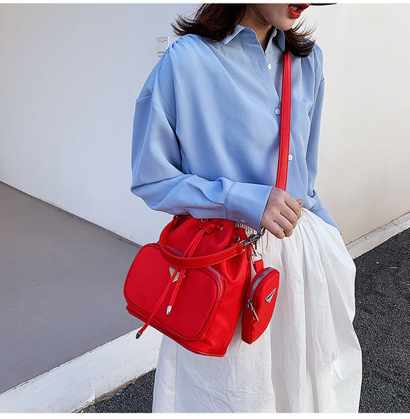 Red Ellie Drawstring Crossbody Bag Vegan Nichesix