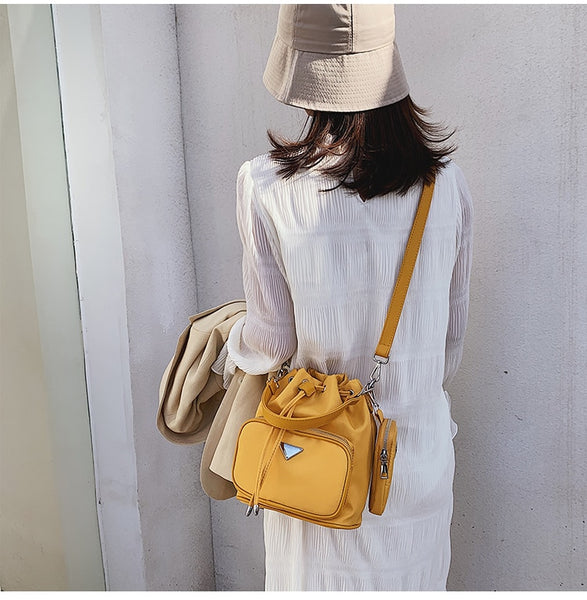 Yellow Ellie Drawstring Crossbody Bag Vegan Nichesix