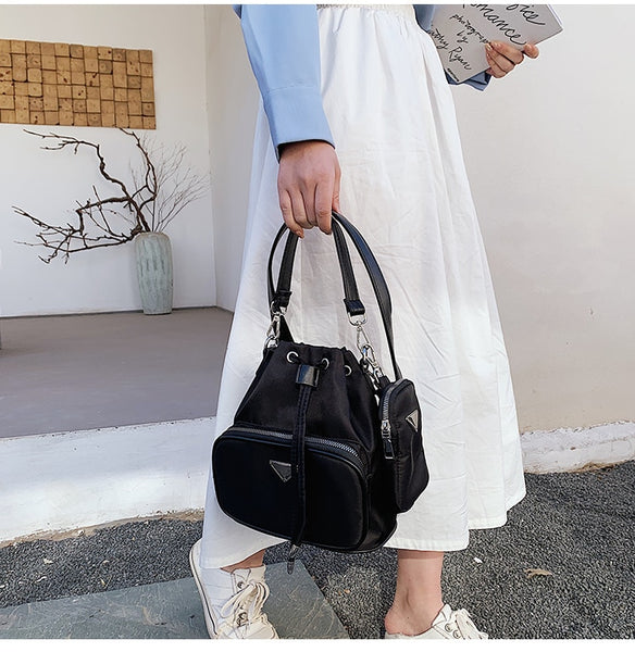 Black Ellie Drawstring Crossbody Bag Vegan Nichesix