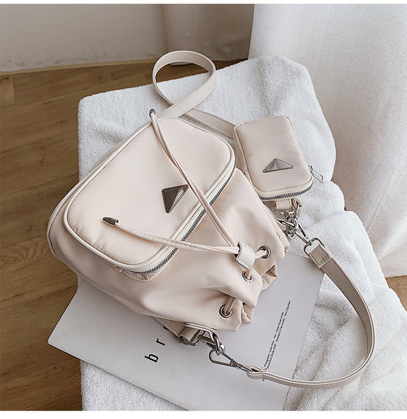 Cream Ellie Drawstring Crossbody Bag Vegan Nichesix Nylon