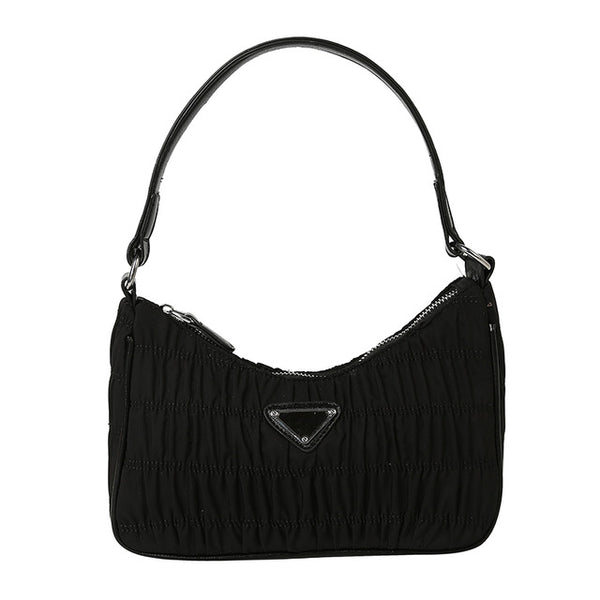 Claire Nylon Shoulder Bag - Black