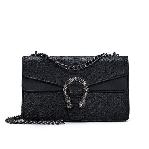 Black Sepertine Leather Crossbody