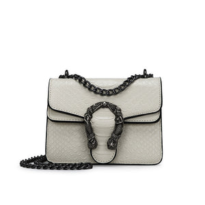 Mini Serpentine Leather Crossbody - Cream