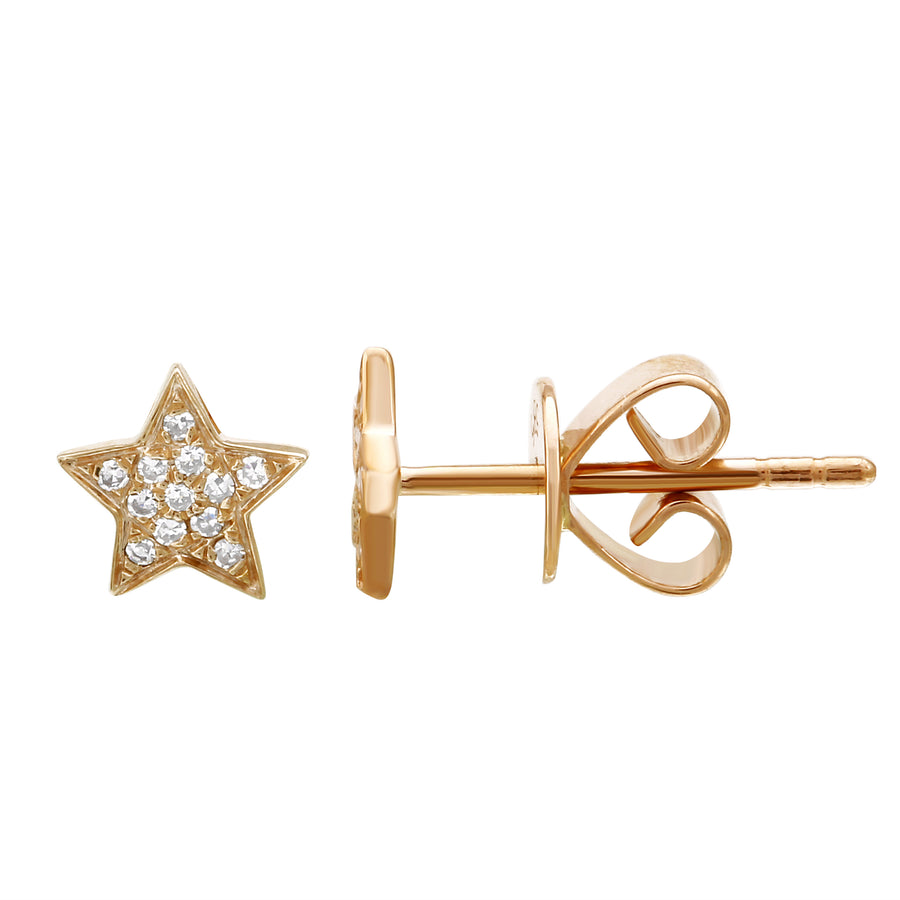 14k Yellow Gold Diamond Pave Star Stud Earrings (0.06 cttw H-I Color, I1-I2 Clarity)