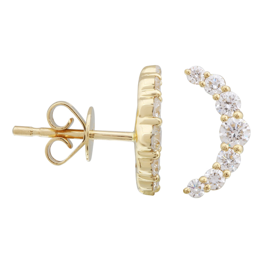 14k Yellow Gold Lab Created Diamond Crescent Moon Stud Earrings (1/2 cttw, E-F, VS2-SI1)