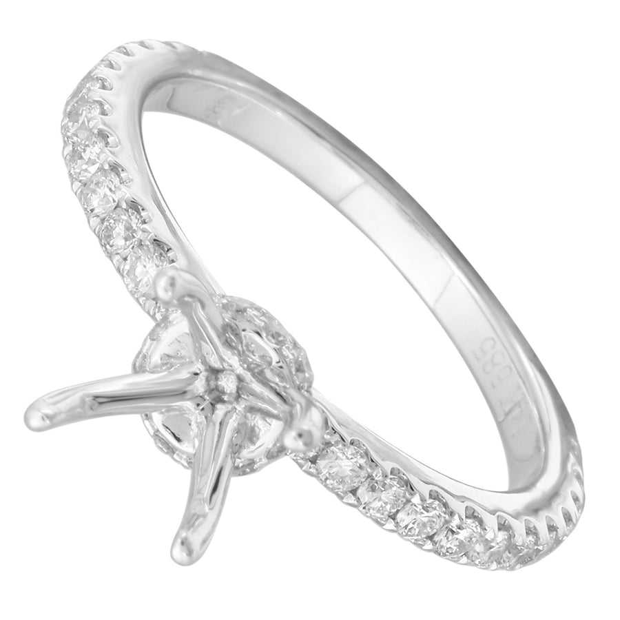 14k White Gold ECOMARK® Created Diamond Semi-Mount Engagement Ring (1/2 cttw, E-F Color, VS2-SI1) - ecomarkdiamonds
