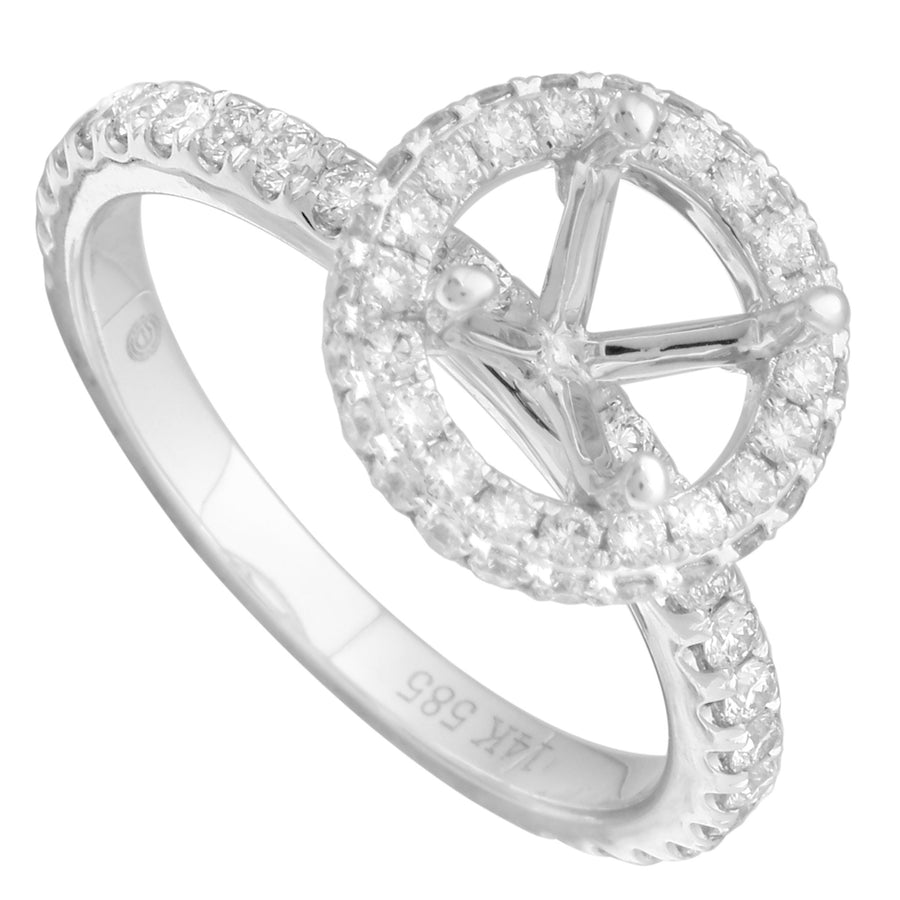 14k White Gold ECOMARK® Created Diamond Semi-Mount Engagement Ring (7/8 cttw, E-F Color, VS2-SI1) - ecomarkdiamonds