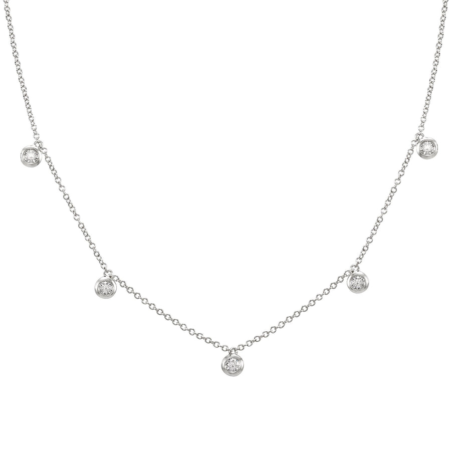 14k White Gold ECOMARK® Created Diamond Station Charm Necklace (1/4 cttw, E-F, VS2-SI1), 16+2