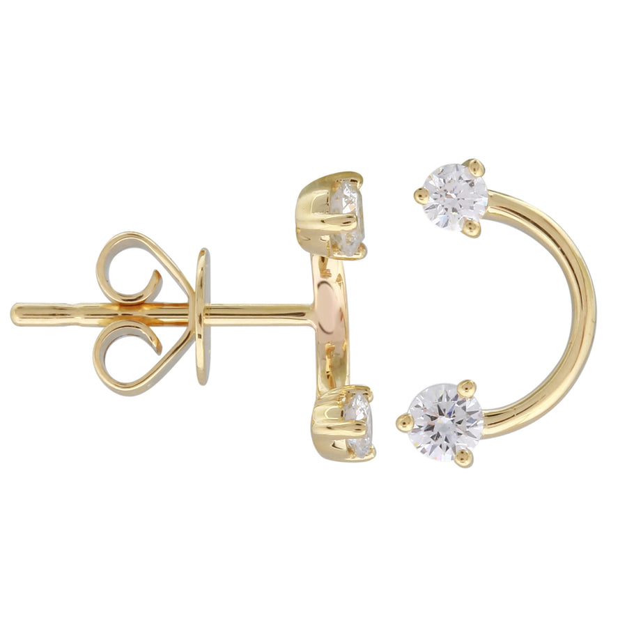 14k Yellow Gold Lab Created Diamond Curved Arrow Stud Earrings (1/4 cttw, E-F, VS2-SI1)