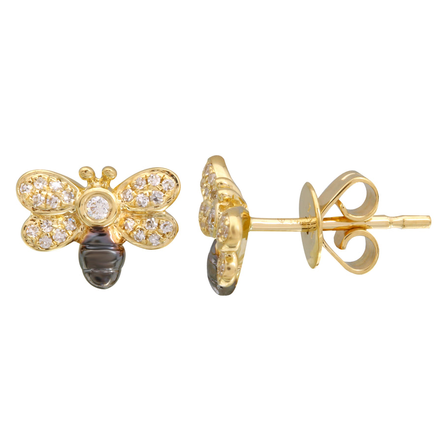 14k Yellow Gold Black Rhodium Diamond Floating Bee Stud Earrings (1/10 cttw)