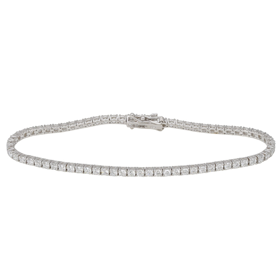 18k White Gold ECOMARK® Created Diamond Tennis Bracelet (3.0 cttw, E-F Color, VS2-SI1 Clarity), 7