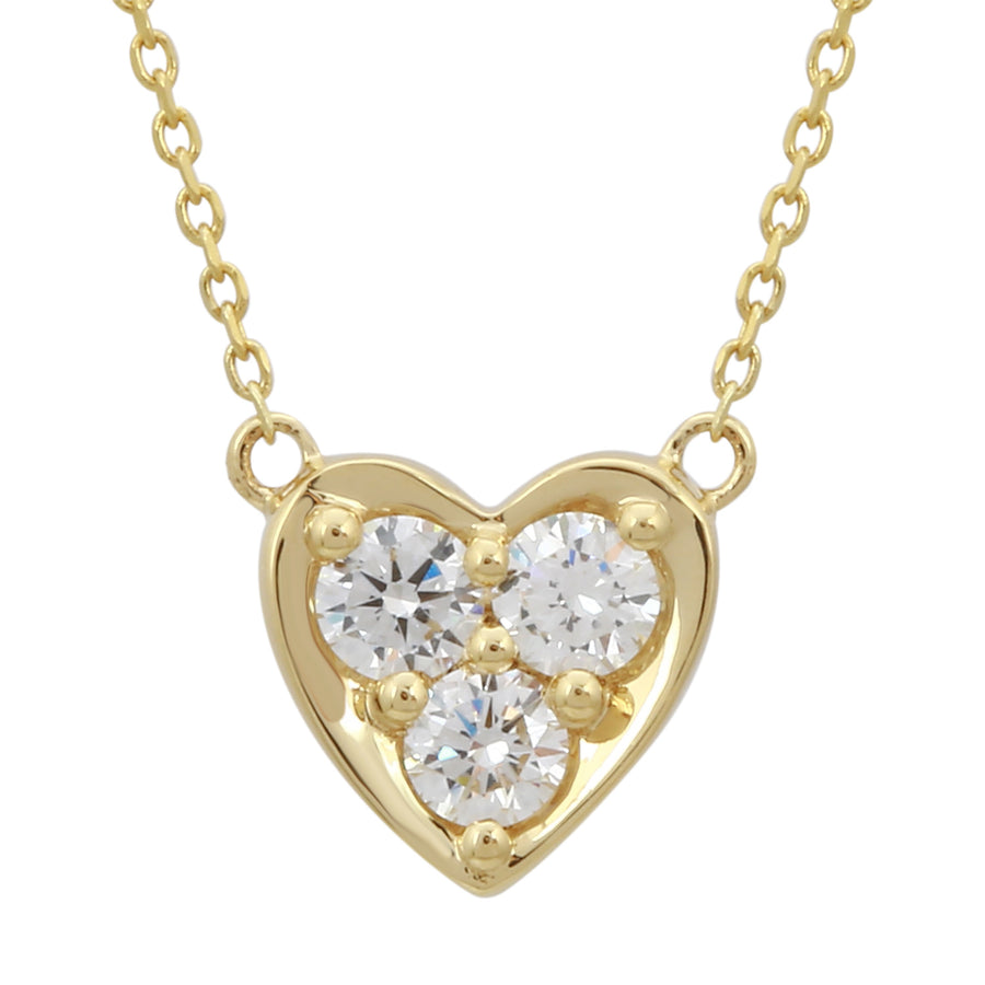 14k Yellow Gold ECOMARK® Created Diamond Heart Pendant Necklace (1/5 cttw, E-F, VS2-SI1), 16-18