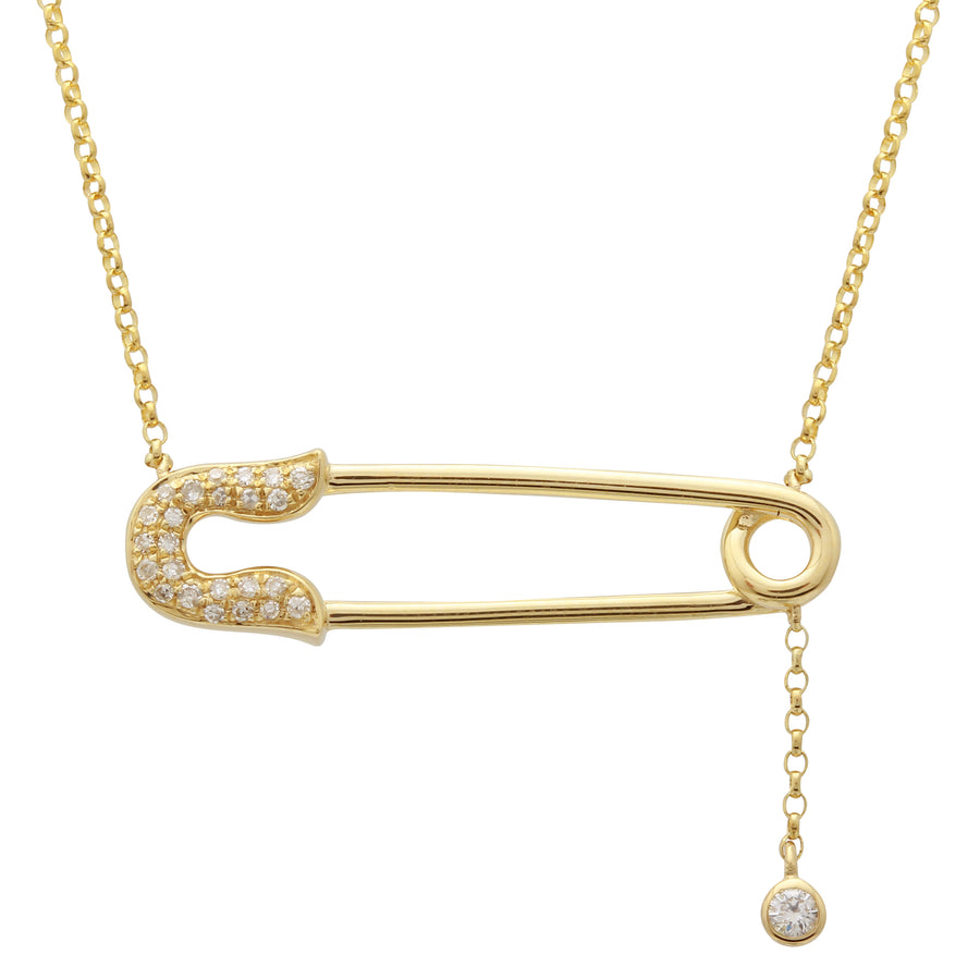 14k Yellow Gold Diamond Pave Safety Pin Lariat Pendant Necklace (1/20 cttw), 16+2
