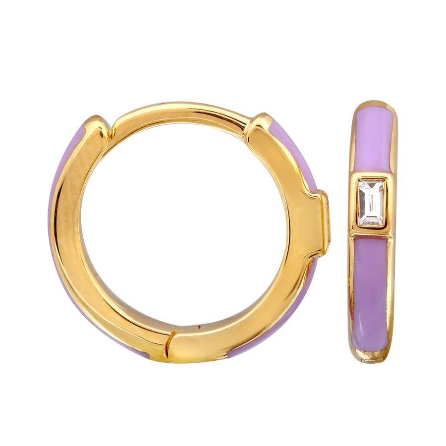 14k Yellow Gold Diamond Baguette Lavender Hoop Earrings (1/20 cttw), 11mm Diameter