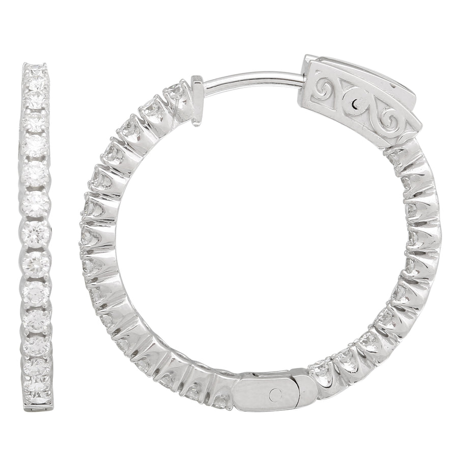 14k White Gold ECOMARK® Created Diamond Hoop Earrings (1.5 cttw, E-F Color, VS2-SI1 Clarity), 26mm