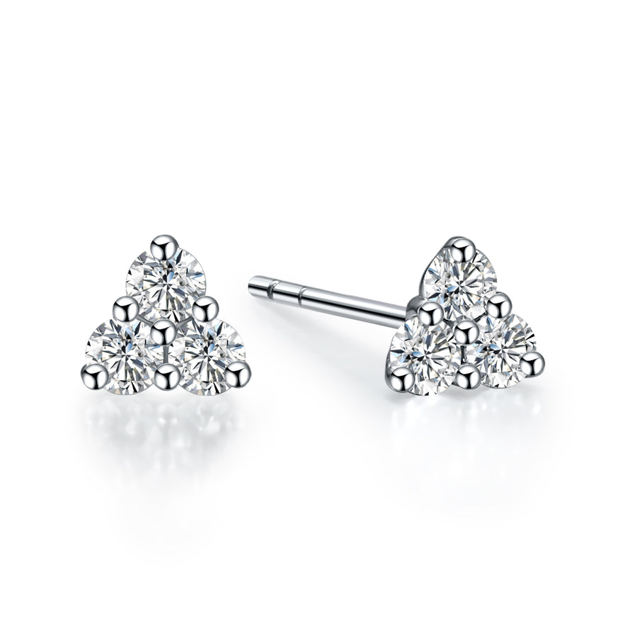 REEMARK™ 18k White Gold Diamond Accent Triangle Stud Earrings (1/5 cttw, I-J Color, I1-I2 Clarity)
