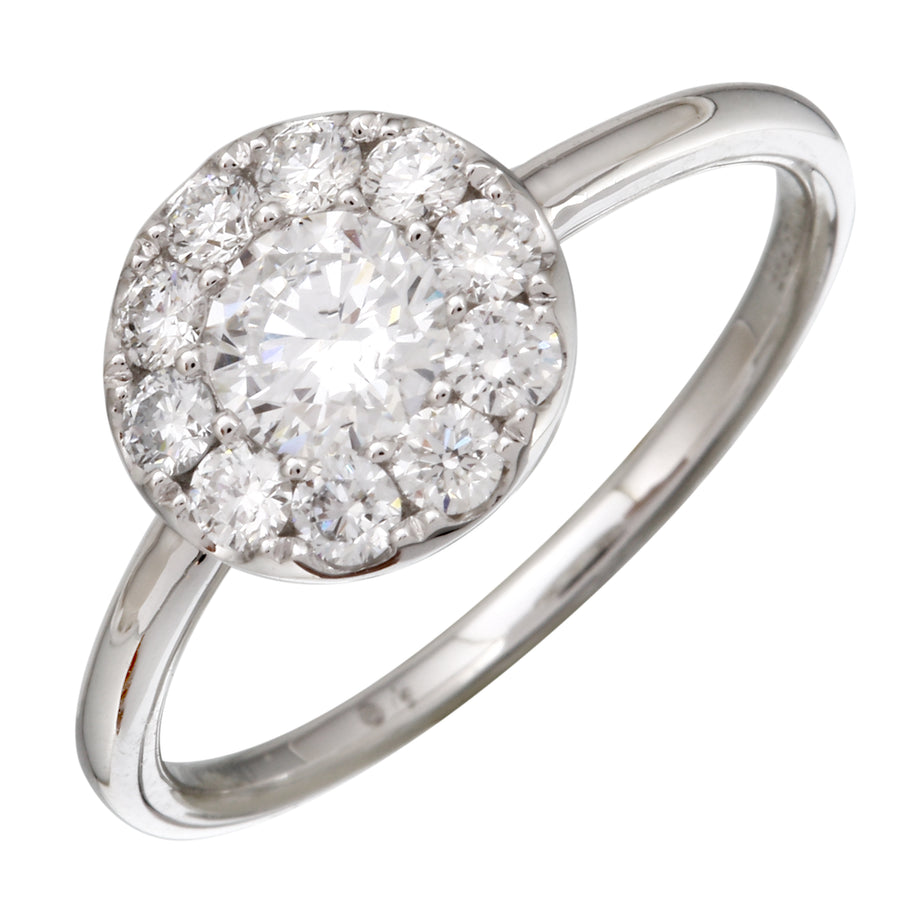 14k White Gold ECOMARK® Created Diamond Halo Engagement Ring (3/4 cttw, E-F Color, VS2-SI1)