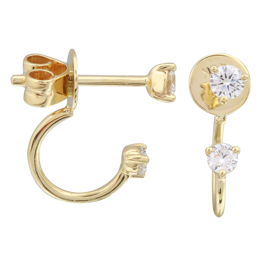 14k Yellow Gold Lab Created Diamond Drop Hoop Stud Earrings (1/4 cttw, E-F Color, VS2-SI1 Clarity)