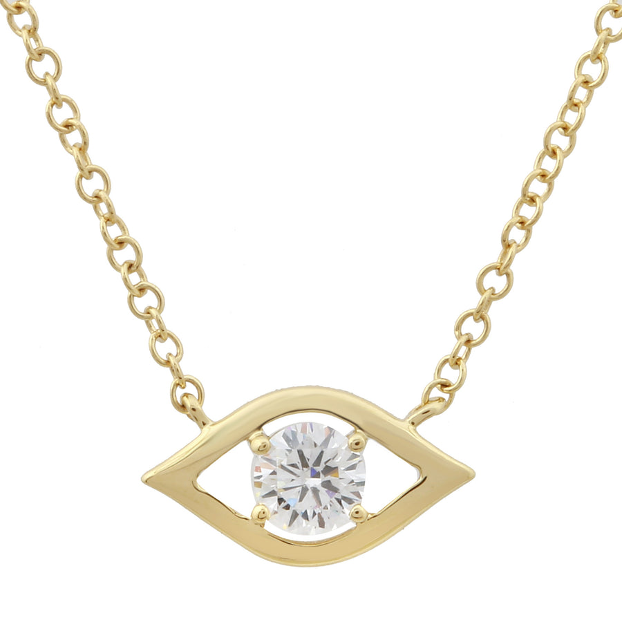 14k Yellow Gold Lab Created Diamond Eye Pendant Necklace (1/5 cttw, E-F, VS2-SI1), 16+2