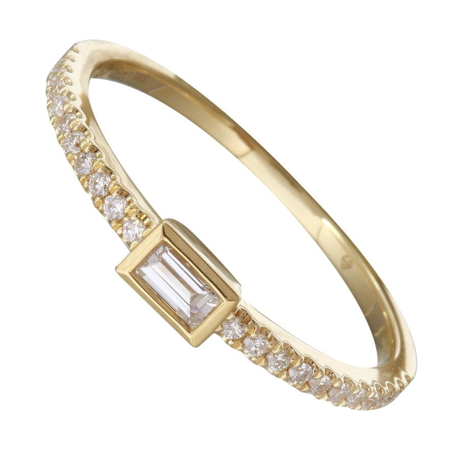 14k Yellow Gold Diamond Baguette Bezel Solitaire Ring (1/5 cttw, H-I Color, I1-I2 Clarity)