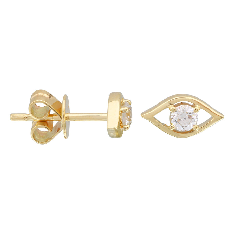 14k Yellow Gold Lab Created Diamond Eye Stud Earrings (1/5 cttw, E-F Color, VS2-SI1 Clarity)