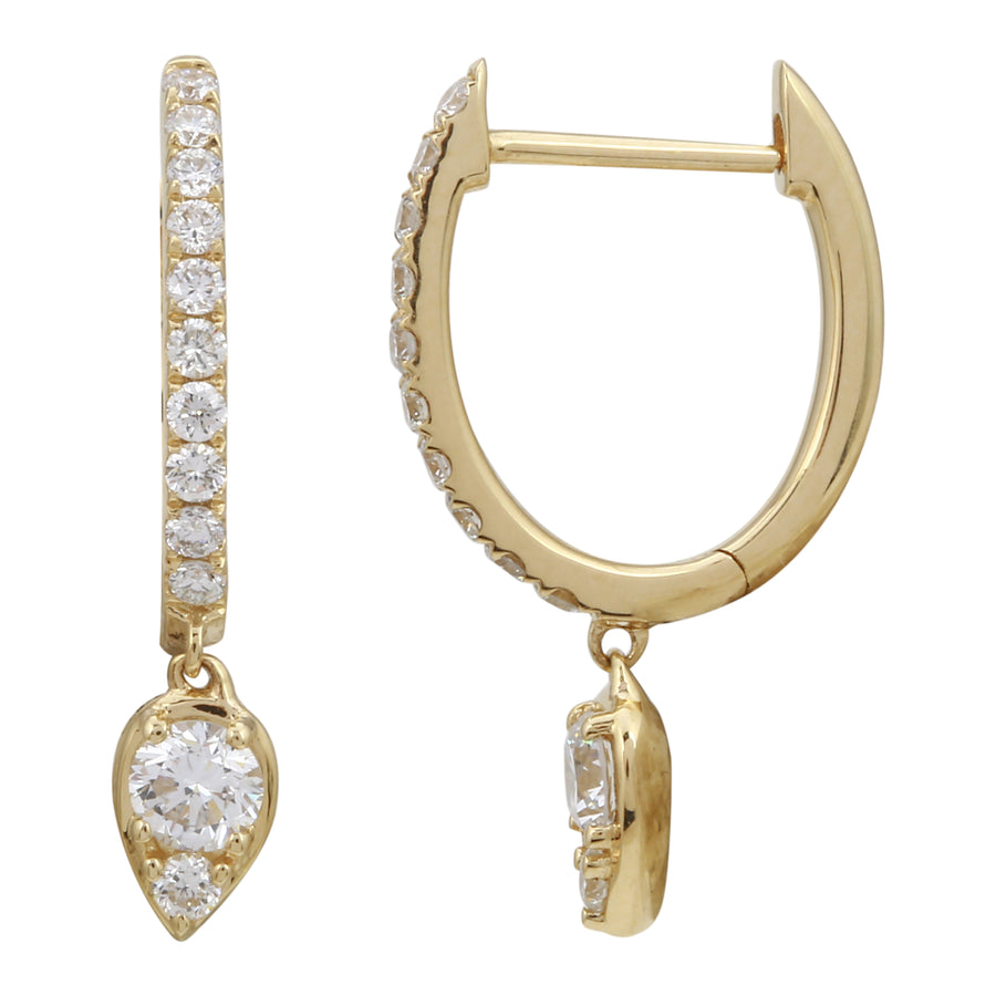 14k Yellow Gold ECOMARK® Created Diamond Dangling Drop Hoop Earrings (3/8 cttw, E-F, VS2-SI1), 11mm