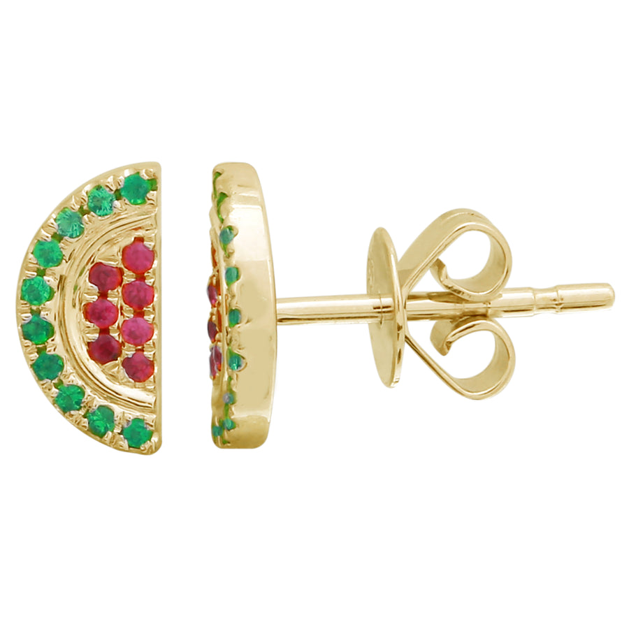 14k Yellow Gold Emerald Ruby Watermelon Stud Earrings (1/10 cttw)