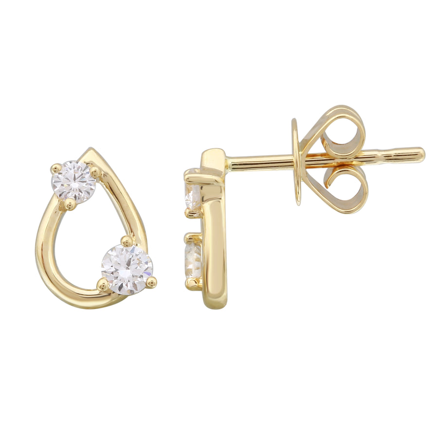 14k Yellow Gold Lab Created Diamond Accent Pear Stud Earrings (1/4 cttw, E-F Color, VS2-SI1 Clarity)