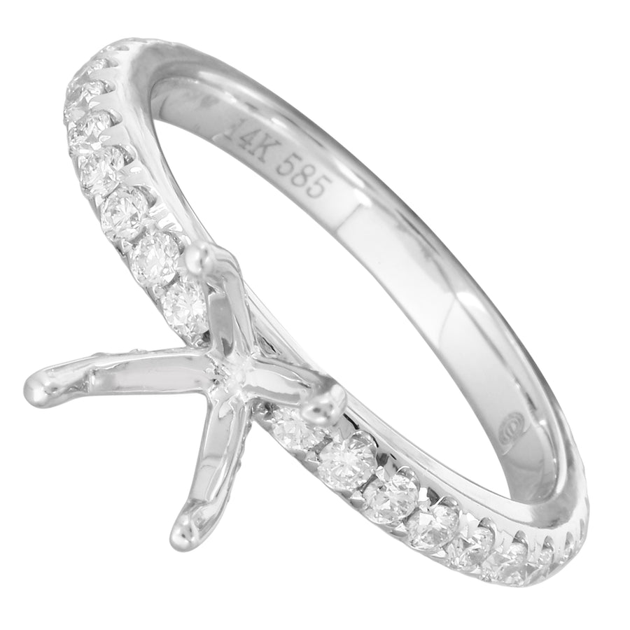 14k White Gold ECOMARK® Created Diamond Semi-Mount Engagement Ring (5/8 cttw, E-F Color, VS2-SI1)