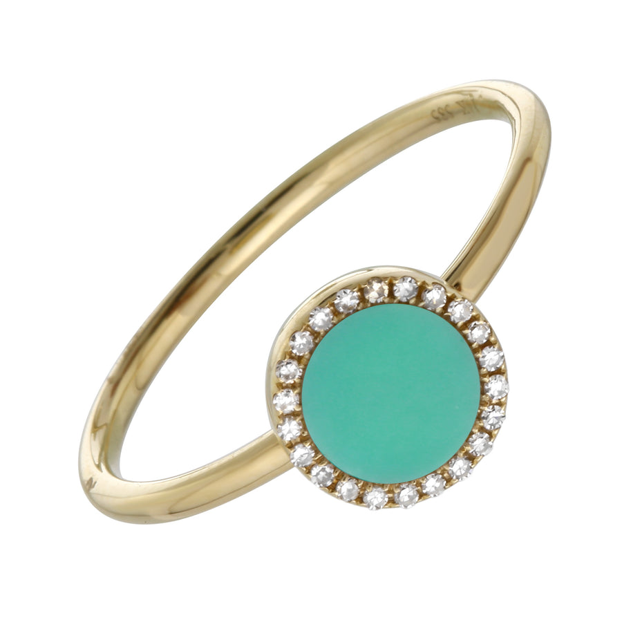 14k Yellow Gold Turquoise Solitaire Diamond Accent Ring (0.06 cttw, H-I, I1-I2)