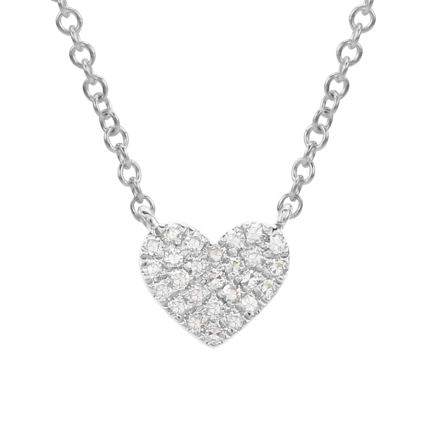 14k White Gold Diamond Pave Heart Charm Pendant Necklace (1/20 cttw), 16+2