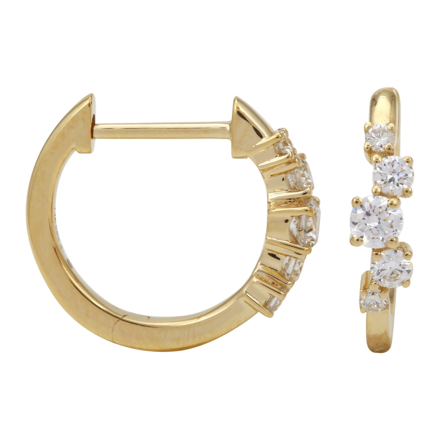 14k Yellow Gold Lab Created Diamond Hoop Earrings (1/3 cttw, E-F, VS2-SI1), 12.5mm