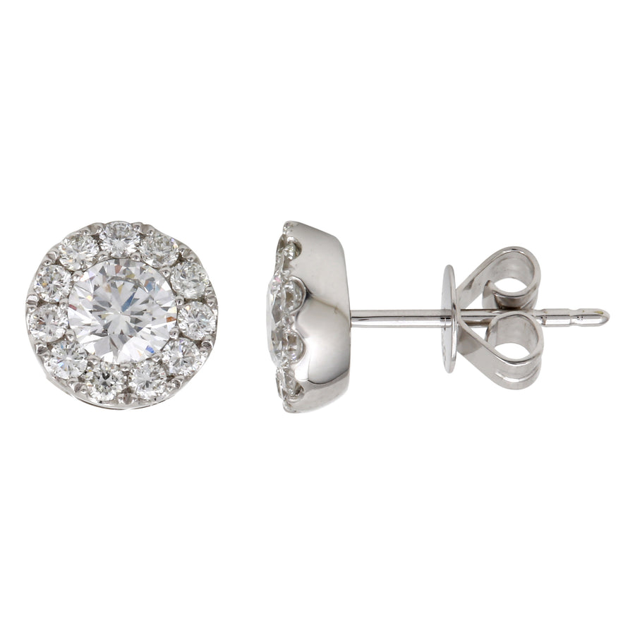 14k White Gold ECOMARK® Created Diamond Halo Stud Earrings (1.08 cttw, E-F Color, VS2-SI1)
